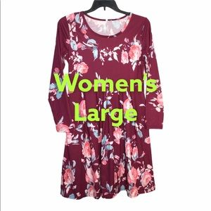 Women's L Dress Flowers Rose Crew Long Sleeve NWOT